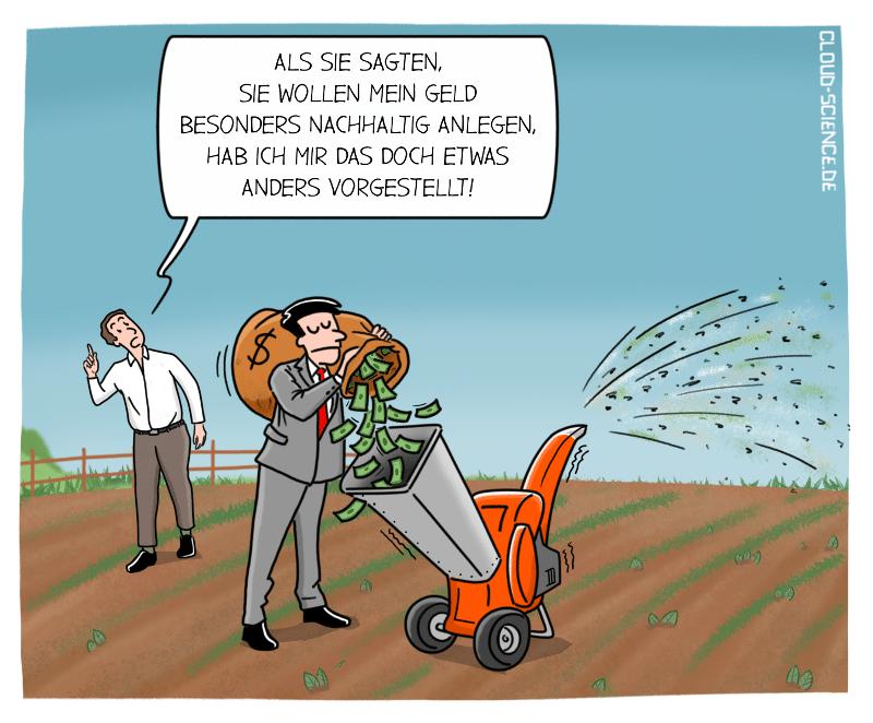 Nachhaltige Geldanlage Sustainable Finance Geld als Dünger Cartoon Karikatur