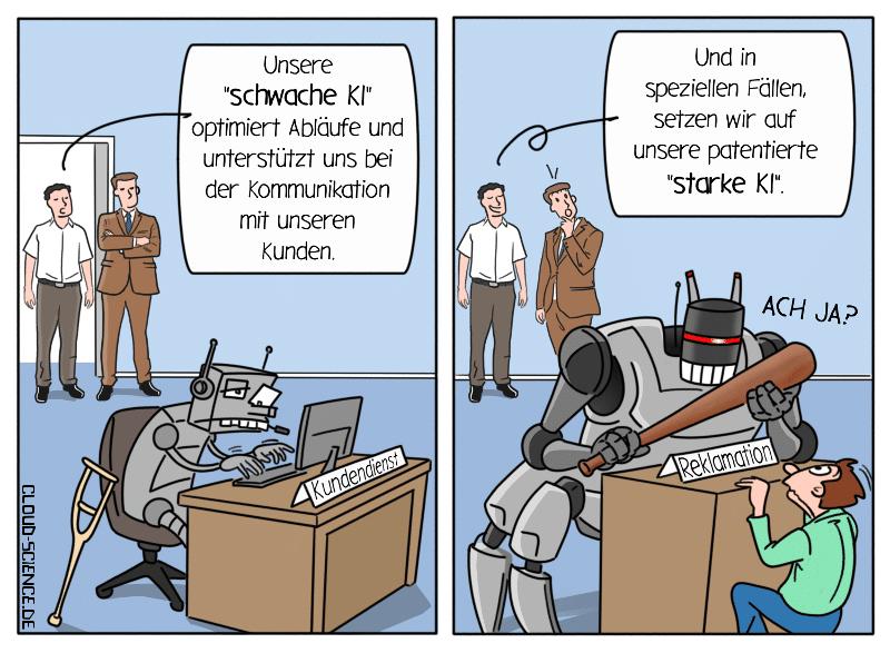 Schwache KI VS. Starke KI Künstliche Intelligenz Comic