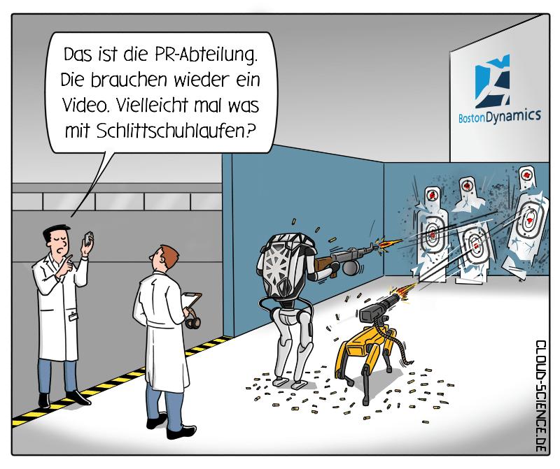Die Roboter von Boston Dynamics in der Entwicklung Killerroboter Cartoon Karikatur
