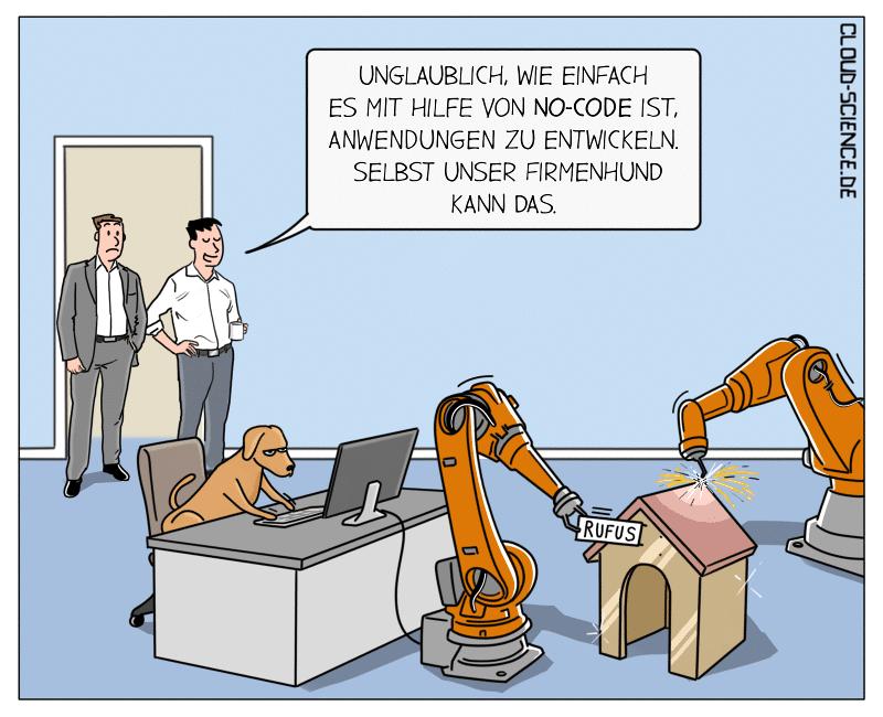 No-Code Entwicklung Cartoon