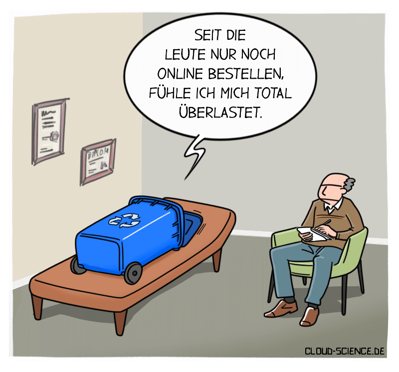 blaue Tonne beim Psychologen. Papiermüll Online-Handel Umwelt Cartoon