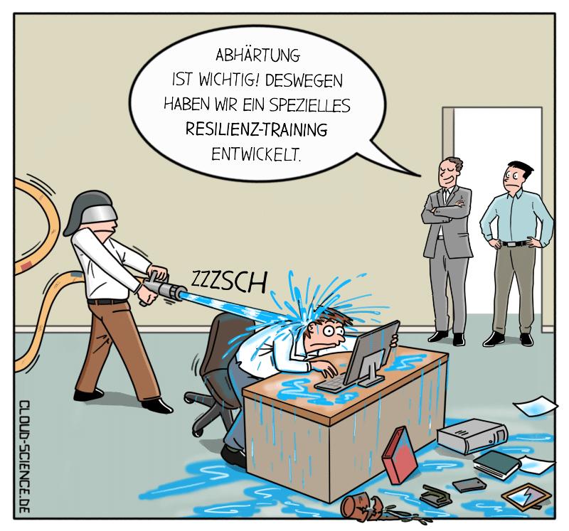 Resilienz-Training Resilienz stärken Widerstandskraft Mitarbeiter Cartoon Arbeit