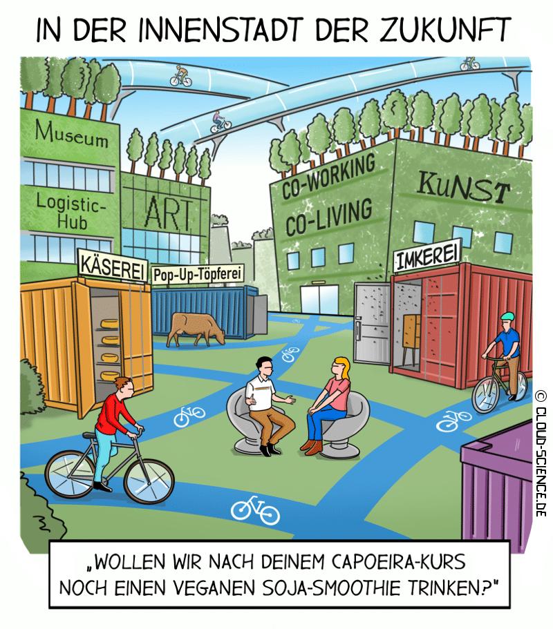 Innenstadt der Zukunft Cartoon Illustration