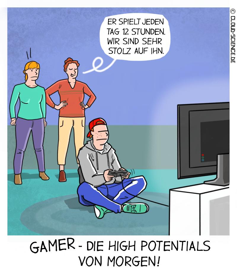 Gamer High Potentials Skills Recruiting Cartoon