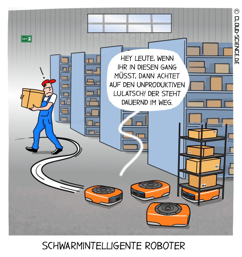Schwarmintelligenz Transportroboter Lager Logistik Automatisierung Cartoon