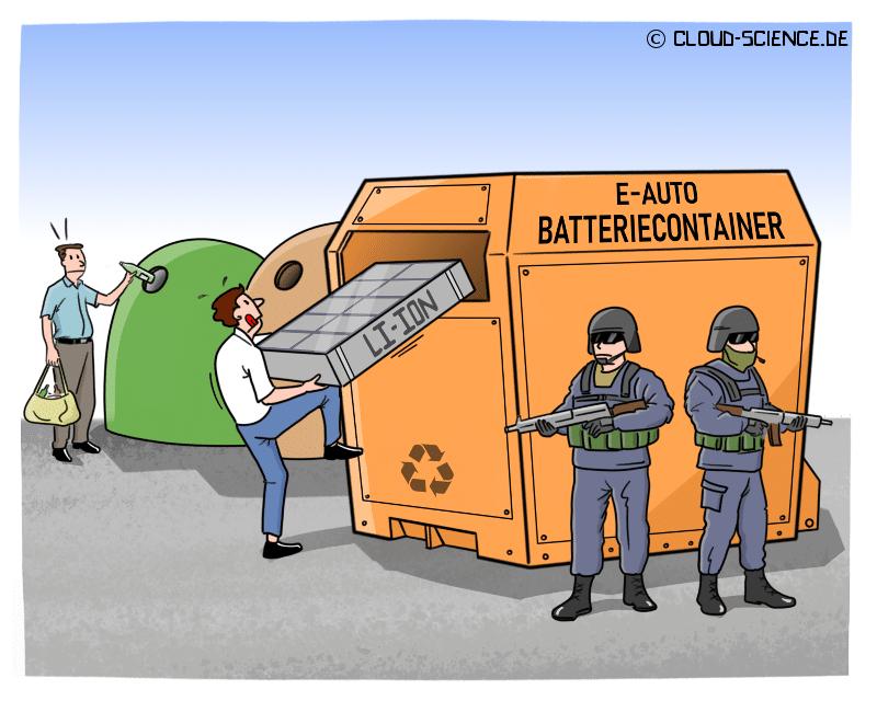 Elektroauto Akku Batterie Recycling Cartoon Illustration Karikatur
