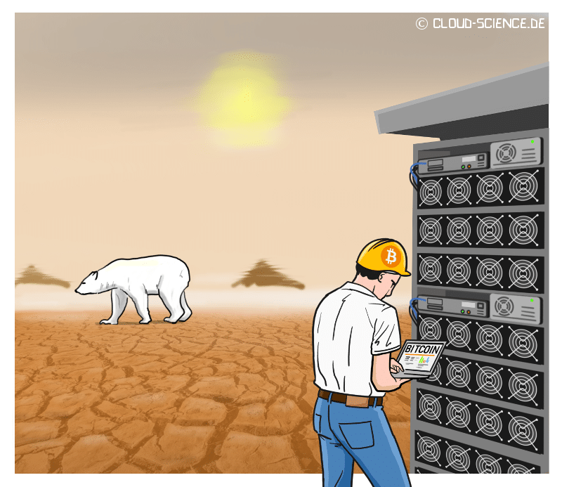 Bitcoin Mining Klima Cartoon Illustration