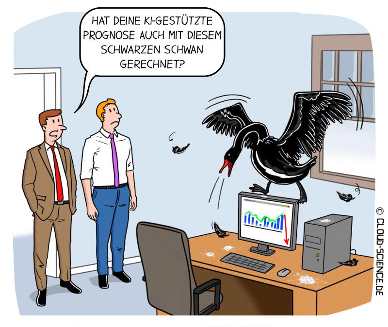 Schwarzer Schwan KI Prognose Vorhersage Cartoon Karikatur