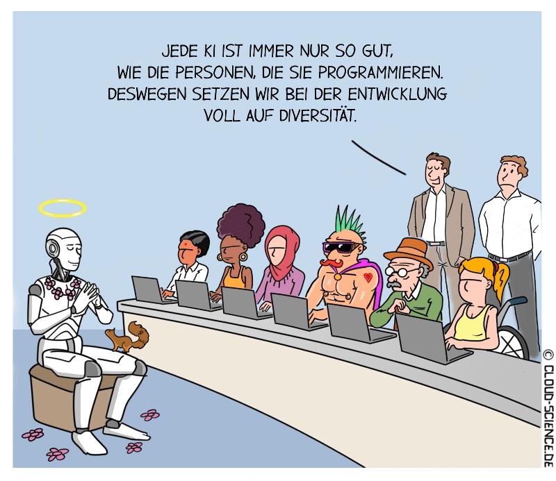 Diversität Team Algorithmen KI Cartoon