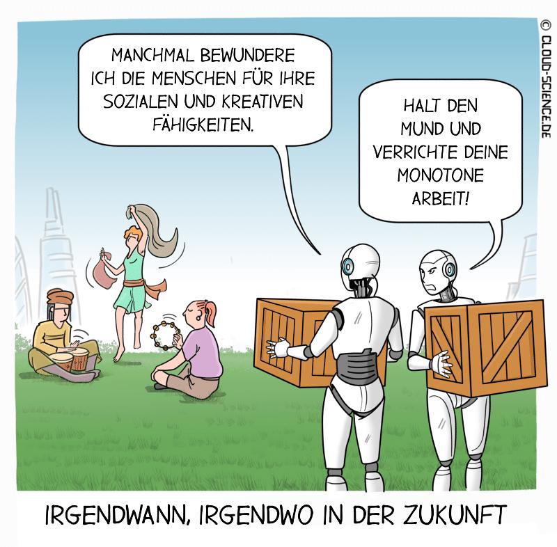 Roboter Menschen Fähigkeiten Cartoon Karikatur Illustration