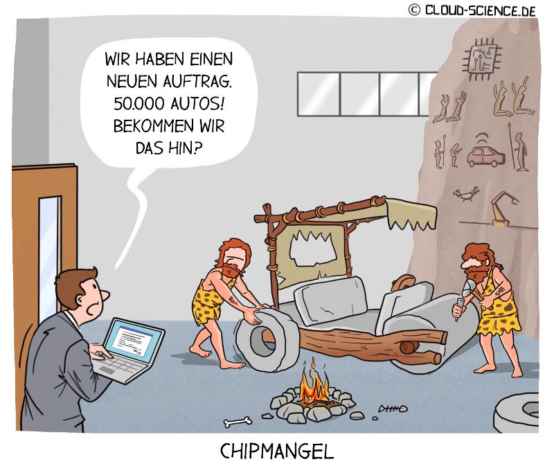 Chipmangel Halbleiter Krise Automobilindustrie Technologie Cartoon Karikatur Steinzeit