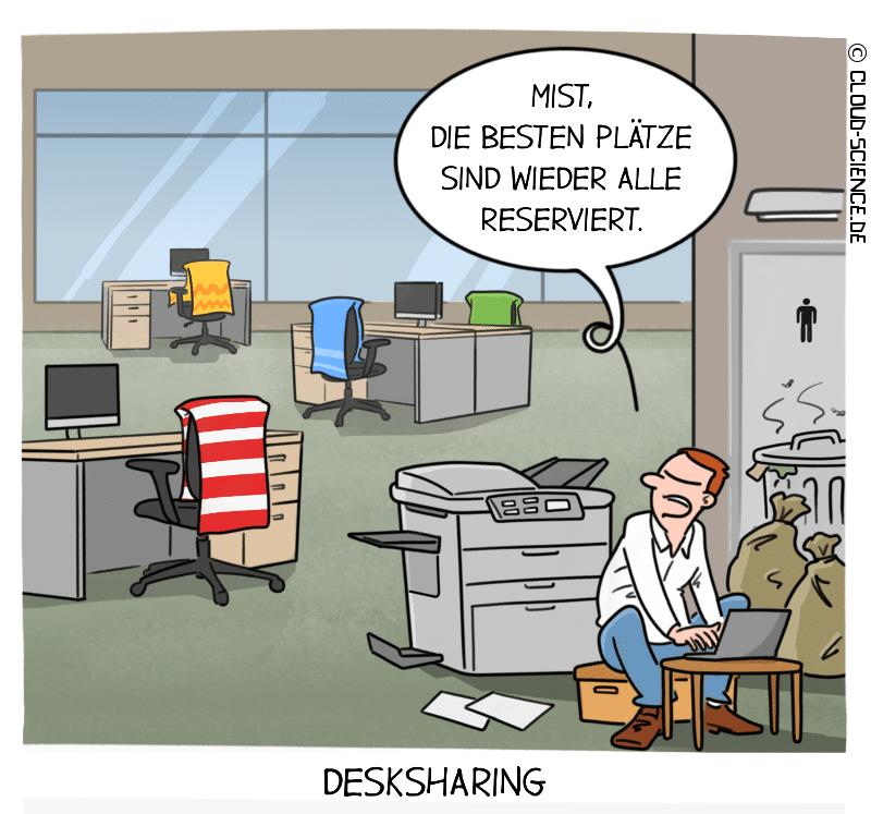 Desksharing Büro Office Cartoon