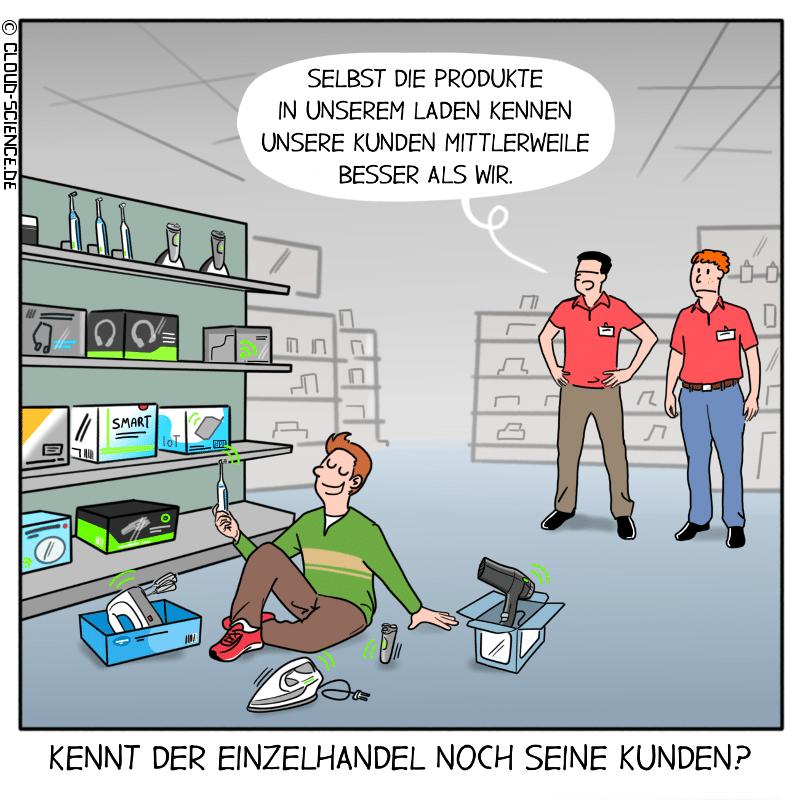 Kennt der Einzelhandel noch seine Kunden? Cartoon stationärer Handel Daten
