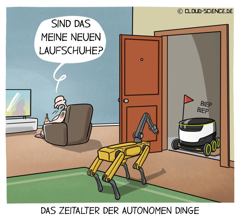 Autonome Dinge Lieferroboter Cartoon