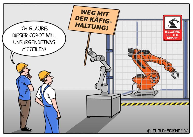 Cobots Roboter Käfig Cartoon