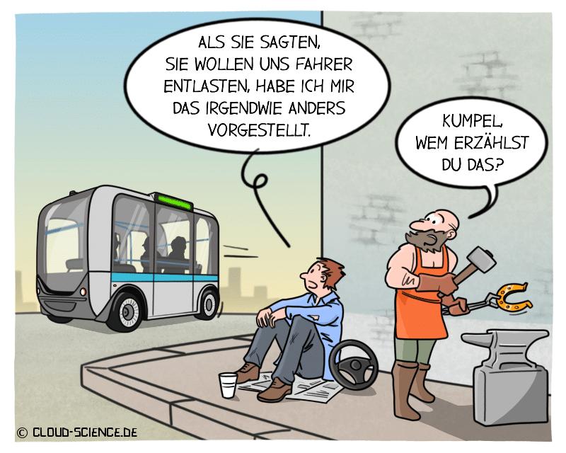 Autonomes Fahren bedroht Arbeitplätze Bedrohung Fahrer Hufschmied Karikatur Cartoon Zukunft