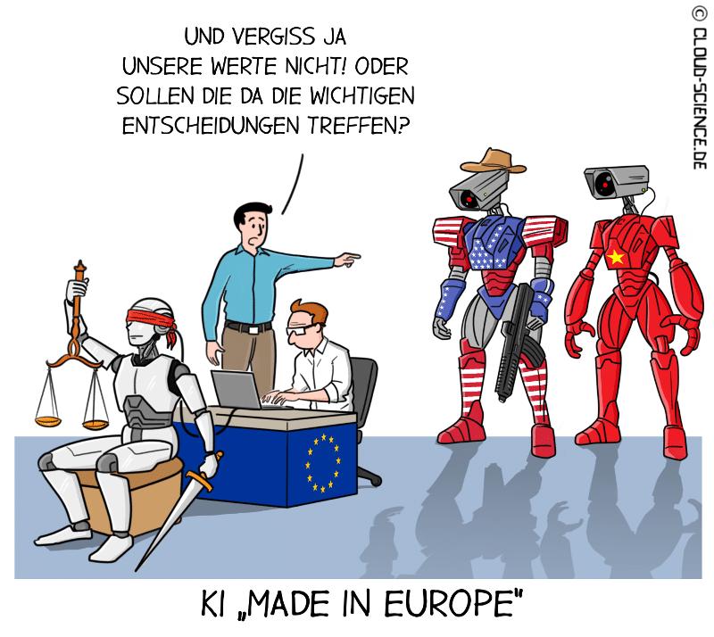 KI Künstliche Intelligenz Made in Europe Europa Karikatur