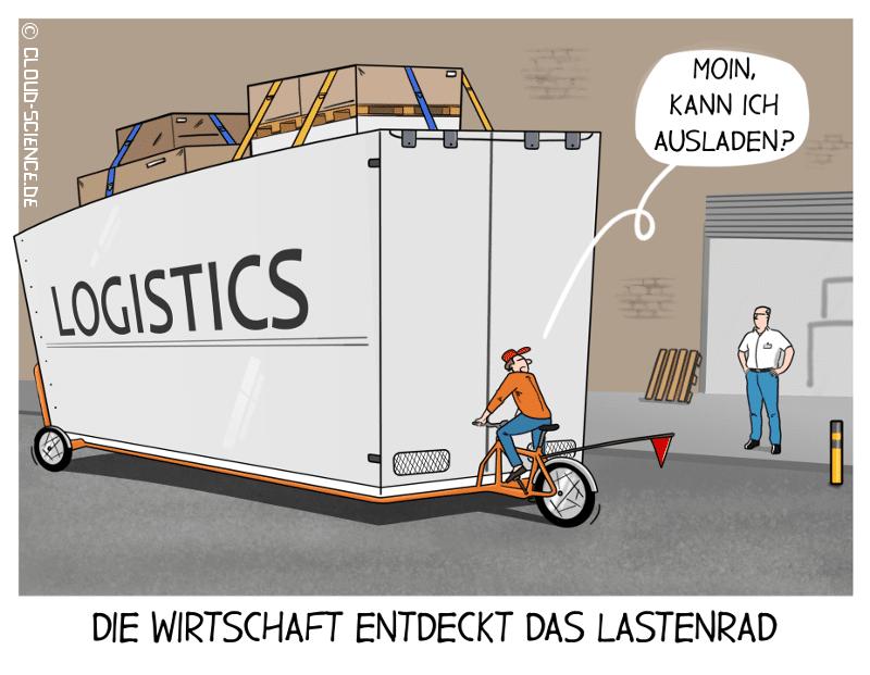 Lastenrad Wirtschaft Cartoon
