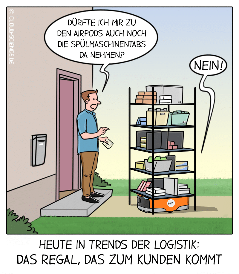 Logistik Regal zum Kunden Letzte Meile Lieferung Bestellung Cartoon