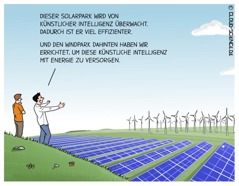 KI Künstliche Intelligenz Energieverbrauch Umwelt Karikatur Cartoon